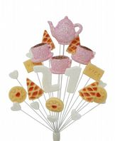 Afternoon tea 21st birthday cake topper decoration in pale pink and white - free postage